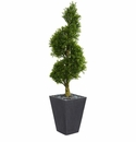 5� Boxwood Spiral Topiary Artificial Tree in Slate Planter UV Resistant (Indoor/Outdoor) -