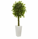 5� Braided Ficus Artificial Tree in White Tower Planter UV Resistant (Indoor/Outdoor) -