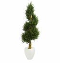 5� Cypress Spiral Artificial Tree in White Oval Planter UV Resistant (Indoor/Outdoor) -