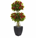 5� Double Ball Bougainvillea Artificial Tree in Black Wash Planter -