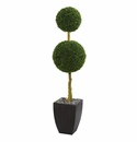 5� Double Ball Boxwood Topiary Artificial Tree in Black Wash Planter UV Resistant (Indoor/Outdoor) -