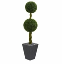 5� Double Ball Boxwood Topiary Artificial Tree in Slate Planter UV Resistant (Indoor/Outdoor)r) -