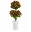 5� Double Bougainvillea Artificial Tree in White Tower Planter -
