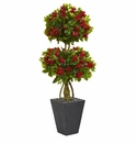 5� Double Bougainvillea Topiary Artificial Tree in Slate Planter -