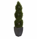 5� Double Pond Cypress Spiral Topiary Artificial Tree in Black Wash Planter UV Resistant (Indoor/Outdoor) -