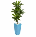 5� Dracaena Artificial Plant in Turquoise Tower Vase -