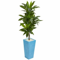 5' Dracaena Artificial Plant in Turquoise Tower Vase -