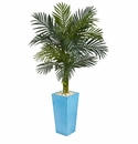 5� Golden Cane Palm Artificial Tree in Turquoise Tower Vase -