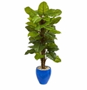 5� Large Leaf Philodendron Artificial Plant in Blue Planter (Real Touch) -