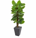 5� Large Leaf Philodendron Artificial Plant in Slate Planter (Real Touch) -