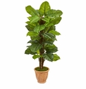 5� Large Leaf Philodendron Artificial Plant in Terracotta Planter (Real Touch) -