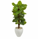 5� Large Leaf Philodendron Artificial Plant in White Oval Planter (Real Touch) -