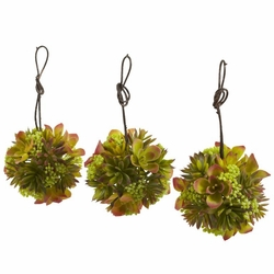 "5"" Mixed Succulent Hanging Ball Artificial Cactus (Set of 3)"