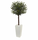 5� Olive Topiary Artificial Tree in White Tower Planter