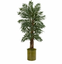 5� Parlor Palm Artificial Tree in Green Tin Planter -