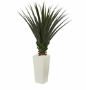 5' Spiky Agave Artificial Plant in White Tower Planter