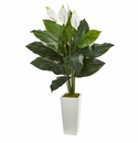 51� Spathifyllum Artificial Plant in White Tower Planter