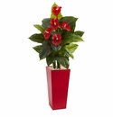 53� Anthurium Artificial Plant in Red Tower Vase(Real Touch) -