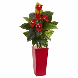 "53"" Anthurium Artificial Plant in Red Tower Vase(Real Touch) -"