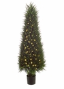 """58"""" Artificial Cedar Topiary Tree in Plastic Pot with 200 Led Lights"""