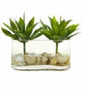 6.5� Mini Agave Succulent Artificial Arrangement in Glass Vase -