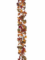 6' Artificial Mini Oak Leaf Chain Garland Mixed Colors - Set of 6