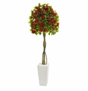 6� Bougainvillea Artificial Tree in White Tower Planter -