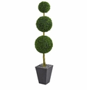 6� Boxwood Triple Ball Topiary Artificial Tree in Slate Planter UV Resistant (Indoor/Outdoor) -