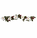 6� Magnolia Flower, Pine and Berries Artificial Garland