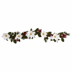 6' Magnolia Flower, Pine and Berries Artificial Garland