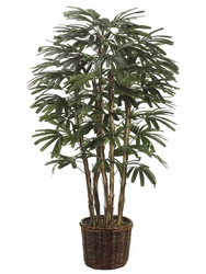 6' SILK RHAPIS PALM IN WILLOW PLANTER