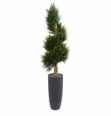 6� Spiral Cypress Artificial Tree in Cylinder Planter UV Resistant (Indoor/Outdoor) -