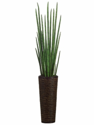 "60"" artificial snake grass plant in bamboo-rope decorative container"