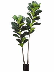 "66"" Artificial Fiddle Leaf Plant x 2 with 44 Leaves in Pot - Set of 2"
