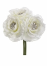 "7.5"" Silk Rose Wedding Bouquet with Rhinestone - Set of 12"
