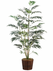 7' Artificial Bamboo Palm Tree in Wicker Basket