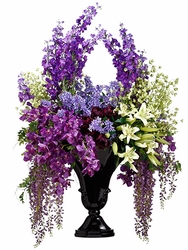 "71"" Large Artificial Lily,Orchid, Wisteria and Delphinium Silk Flower Arrangement in Resin Vase"