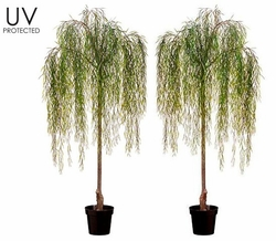 "74"" UV Protected Willow Artificial Tree in Plastic Pot - Set of 2"