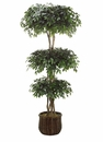 8' SILK FICUS TRIPLE BALL TOPIARY IN PLANTER