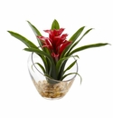 8�� Tropical Bromeliad in Angled Vase Artificial Arrangement - Red