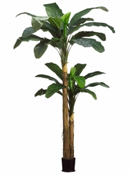 9'+ 5' Artificial Banana Tree Plant Combined in Round Pot - Set of 2