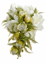 "9.5"" Artificial Silk Peony Flower with Fern Cascading Wedding Bouquet - Set of 6 (Shown in White)"