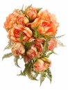 """9.5"""" Artificial Silk Peony Flower with Fern Cascading Wedding Bouquet - Set of 6 (Shown in White)"""
