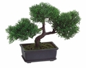 "9"" Artificial Cedar Bonsai with 113 Leaves in Rectangular Brown Pot Green"