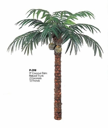 9' Artificial Coconut Palm Tree sold Non Potted with 12 Fronds and 2 Coconuts