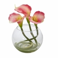 9'' Calla Lily Artificial Arrangement in Rounded Glass Vase - Pink