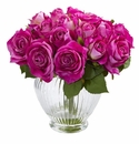 9� Rose Artificial Floral Arrangement in Elegant Glass Vase - Purple
