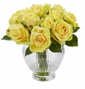 9� Rose Artificial Floral Arrangement in Elegant Glass Vase - Yellow