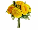 "9"" Artificial Silk Ranunculus Flower Wedding Bouquet Arrangement-Set of 12 (Shown in Yellow)"