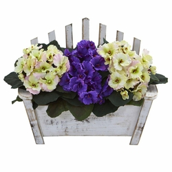 "10.5"" African Violet Artificial Plant in Wooden Bench Planter"